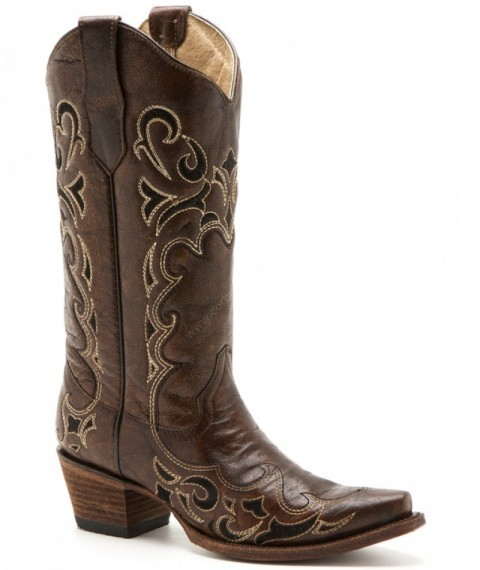 Women chestnut brown leather western snip toe boots with black & honey embroidery