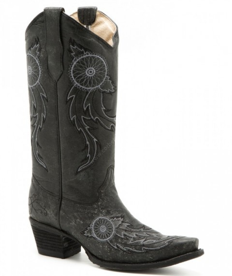 Women Circle G ash grey cowboy boots with dreamcatcher embroidery