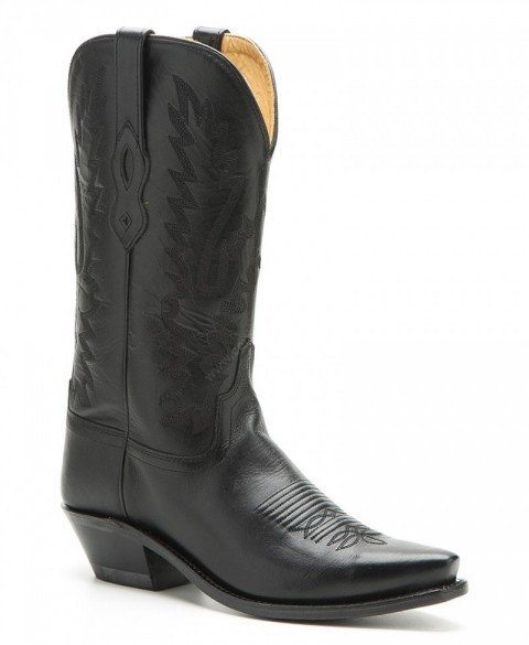 Womens Old West black leather cowboy boots
