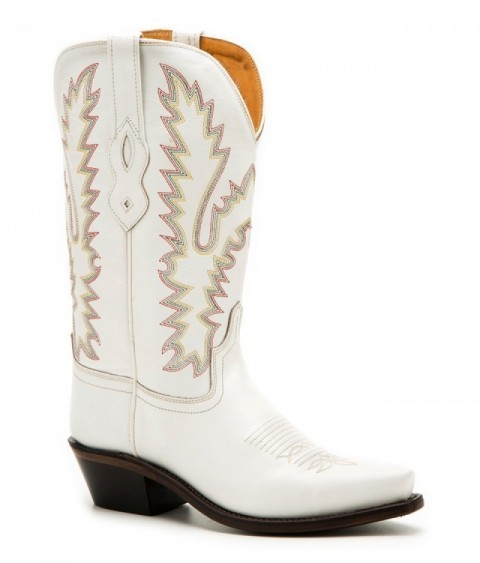 Ladies Old West white leather cowboy boots