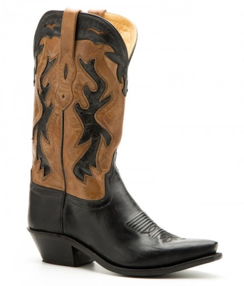 Ladies Old West natural and black leather combination cowboy boots