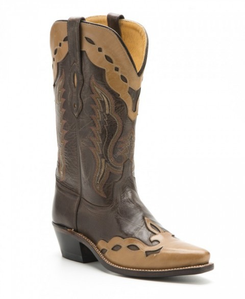 Womens Old West cowboy boots combination brown / cream leather