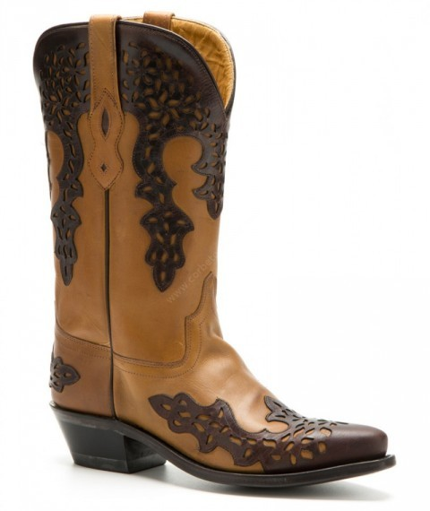 Ladies Old West double layer combination orangey & dark brown leather western boots