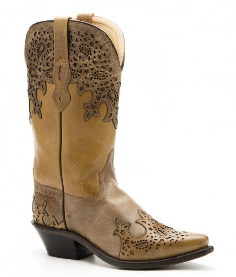 Ladies Old West natural leather and beige combination cowboy boots