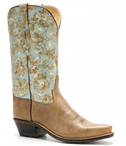 Women Old West snip toe turquoise coloured leg with stitches cowgirl boots