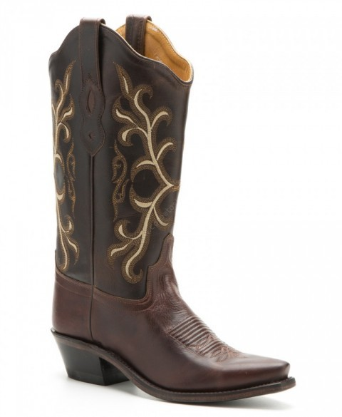 Womens Old West brown leather combination cowboy boots