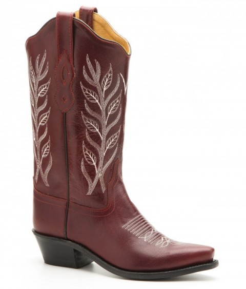 Womens Old West red leather cowboy boots
