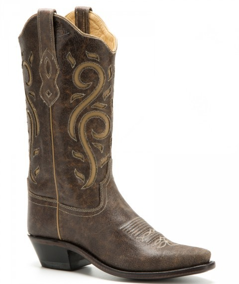Women Old West distressed & tooled brown cow leather cowgirl style boots