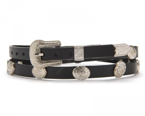 Black leather cowboy hat band with silver flower conchos