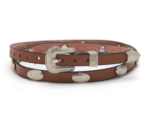 Light brown leather cowboy hat band with floral conchos