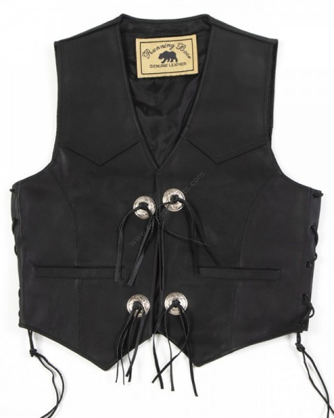 Basic plain black cowhide western waistcoat with conchos