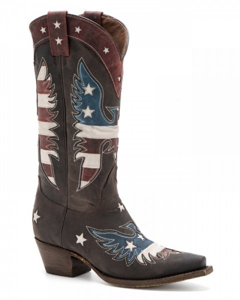 Country style women brown western boots with USA flag