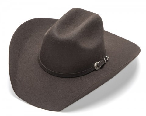 Cattleman crown Texan cowboy stiffened brown wool felt hat