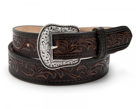 Nocona dark brown leather belt with American embossed floral scroll