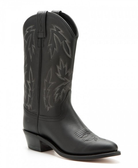 Womens Old West round toe black leather cowboy boots