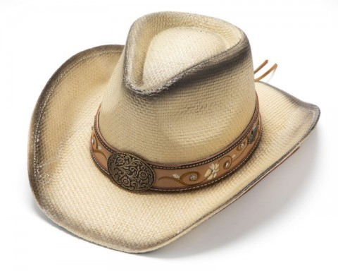 Braided natural hard straw cowgirl hat with embroidered and leather tooled flower scrolls