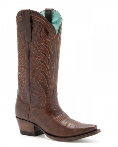 High leg chestnut brown leather Mexican western boots for women