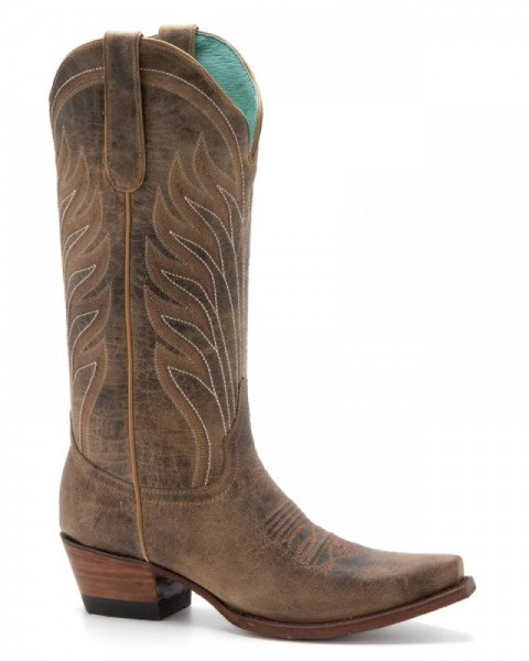 Ladies greased light brown goat skin cowgirl boots from Denver Boots