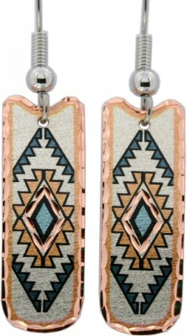 Solid copper Southwestern earrings with mosaic blue rhombus