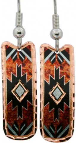Cowgirl copper-made earrings with orange fire background & mosaic