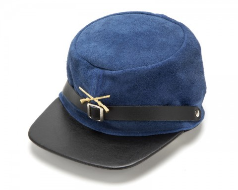 Suede Union Army soldier kepi with leather visor