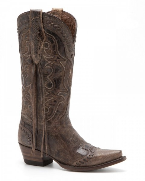 Ladies mexican western crackled brown leather boots with braids and side fringes