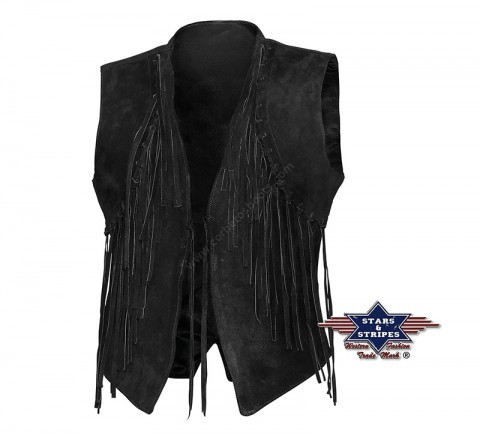 Women cowgirl black suede vest waistcoat with fringes