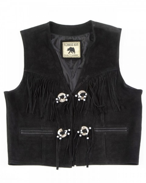 Mens open western black suede vest with fringes